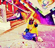 At Work Digital Art Prints - Sidewalk Artist in Haight-Ashbury Print by John Malone