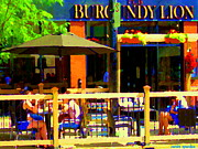 Bistro Paintings - Sidewalk Cafe Lunch On The Terrace Burgundy Lion Pub St Henri Montreal Scene Carole Spandau by Carole Spandau