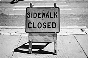 Crosswalk Prints - Sidewalk Closed Sign At Road Pedestrian Crossing Miami South Beach Florida Usa Print by Joe Fox