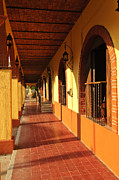 Columns Photo Metal Prints - Sidewalk in Tlaquepaque district of Guadalajara Metal Print by Elena Elisseeva