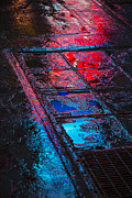 Neon Posters - Sidewalk reflections Poster by Garry Gay