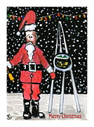Claus Mixed Media Posters - Sidewalk Santa.Card Poster by Joyce Gebauer