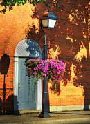 Small Towns Photo Metal Prints - Sidewalk Shadows Metal Print by Mel Steinhauer