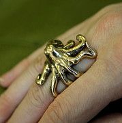 Monster Jewelry - Sideways Octopus Ring by Michael  Doyle