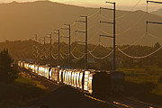 Rail Siding Posters - Siding at Sunset Poster by Mike Flynn