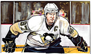 Nhl Hockey Drawings Prints - Sidney Crosby Print by Dave Olsen