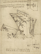 Engineering Drawings Framed Prints - Siege machine in defense of fortification with details of machine from Atlantic Codex Framed Print by Leonardo Da Vinci