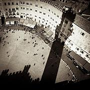 Monochrome Prints - Siena from Above Print by David Bowman