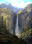 National Park Paintings - Sierra Nevada Waterfall by Frank Wilson