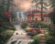 Kinkade Paintings - Sierra River Falls by Chuck Pinson