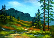 Pacific Northwest Painting Posters - Sierra  Trail Poster by Shasta Eone