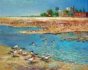Siesta Key Paintings - Siesta Key Sea Gulls by Lou Ann Bagnall