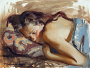 Portraits Paintings - Siesta by Victoria Kharchenko