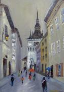 Sighisoara-tower Clock Print by Maria Karalyos