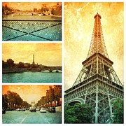 Paris Metal Prints - Sights of Paris Collage Metal Print by Carol Groenen