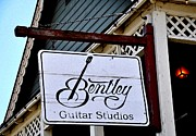 Steel Drum Framed Prints - Sign - Bentley Guitar Studios Framed Print by Liane Wright