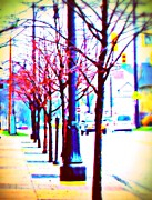 Red Bud Trees Posters - Sign Of Spring On Our Street Poster by Rosemarie E Seppala