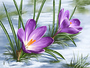 Violet Digital Art - Sign of spring by Veronica Minozzi