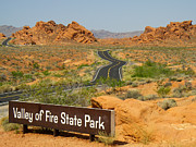 Sign On Road To Valley Of Fire State Park Nevada Print by Robert Ford