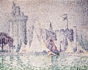 Pointillist Prints - Signacpaul 1863-1935. Port Of La Print by Everett
