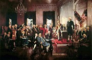 Founding Fathers Paintings - Signing of the United States Constitution by Pg Reproductions