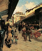 Shades Of Red Framed Prints - Signorini Telemaco, Ponte Vecchio Framed Print by Everett