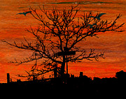 Gloaming Mixed Media Prints - Signpost or Tree at Corner Print by R Kyllo