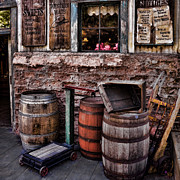 Wooden Structures Prints - Signs and Barrels Print by Ken Smith