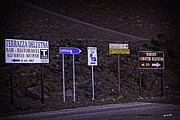 Mountain Road Photo Prints - Signs of a Crater - Sicily Print by Madeline Ellis