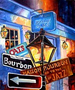 Street Signs Prints - Signs of Bourbon Street Print by Diane Millsap