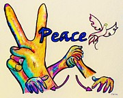 Hand Signs Mixed Media Posters - Signs Of Peace Poster by Eloise Schneider