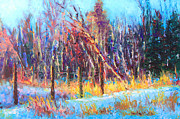 Horizon Paintings - Signs of Spring - trees and snow kissed by spring light by Talya Johnson