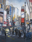 Crowds Painting Originals - Signs of the Times by Leah Wiedemer