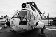 Manhaten Prints - Sikorsky HH 52 hh52 Sea Guardian helicopter on display on the flight deck Print by Joe Fox