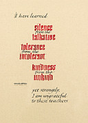 Tolerance Posters - Silence - Tolerance - Kindness Poster by Beth Lee