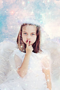 Shushing Prints - Silent Angel Print by Stephanie Frey