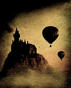 Hot Air Balloon Digital Art Prints - Silent Journey  Print by Bob Orsillo