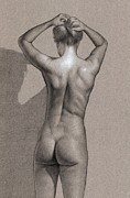 Nude Girl Drawings - Silent Movement by Dirk Dzimirsky