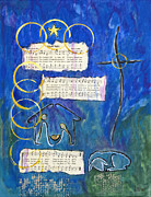 Serenity Prayer Mixed Media Prints - Silent Night A Holy Night - Original Painting by Ella Print by Ella Kaye