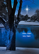 Snowy Night Night Digital Art Prints - Silent Night Print by Betty LaRue
