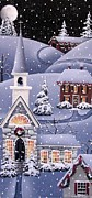 Snow Covered Village Posters - Silent Night Poster by Catherine Holman