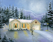 Snow Scene Oil Paintings - Silent Night by Cecilia  Brendel