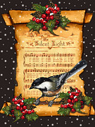 Sheet Mixed Media Framed Prints - Silent Night Christmas Greeting Card With Bird Framed Print by Joyce Geleynse