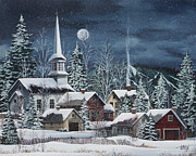 New England Snow Scene Painting Framed Prints - Silent Night Framed Print by Debbi Wetzel