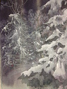 Snow-covered Landscape Mixed Media Prints - Silent Night Print by Elizabeth Carr
