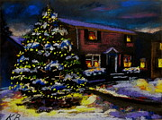 Winter Scene Pastels Metal Prints - Silent Night Metal Print by Kevin Brown