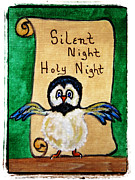 Christmas Eve Mixed Media Prints - Silent Night - Whimsical Chickadee Choir Director Print by Ella Kaye