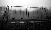 Children Framed Prints Prints - Silent Swings Print by Steven Ainsworth