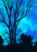 Blue Art Tapestries - Textiles Prints - Silhouette 2 Print by Jean Baardsen