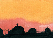 Indiana Landscapes Painting Prints - Silhouette Farm 2 Print by R Kyllo